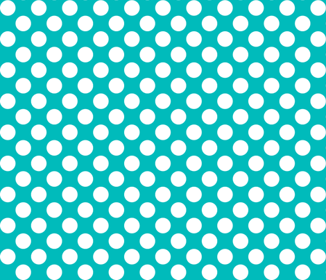 1 inch white dots on turquoise fabric by risarocksit on Spoonflower - custom fabric