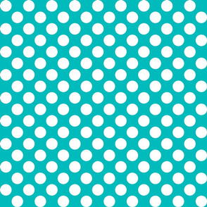 1 inch white dots on turquoise