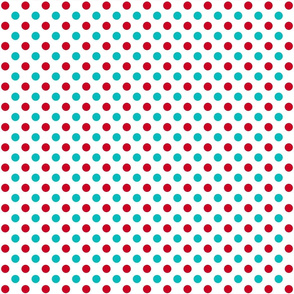 red and turquoise polka dots