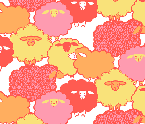 Sheep Shape (coral) fabric by leanne on Spoonflower - custom fabric