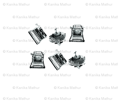 Typewriters & Birds(Black & White)