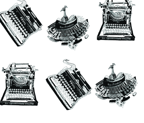 Typewriters & Birds(Black & White) fabric by kanikamathur on Spoonflower - custom fabric