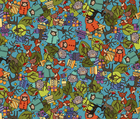 christmas jumble blue fabric by scrummy on Spoonflower - custom fabric