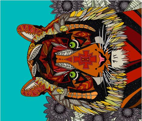 tiger chief yard panel fabric by scrummy on Spoonflower - custom fabric