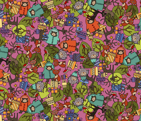 christmas jumble pink fabric by scrummy on Spoonflower - custom fabric