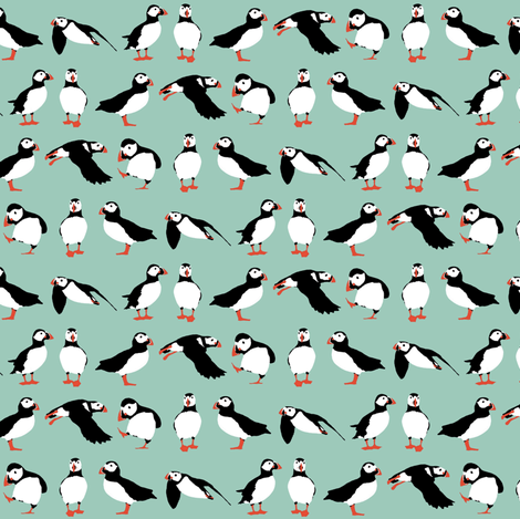 just puffins aqua small fabric by scrummy on Spoonflower - custom fabric
