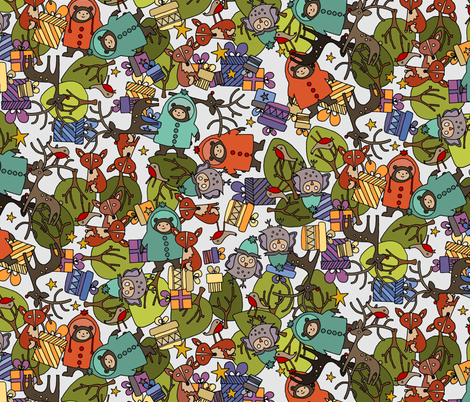 christmas jumble snow white fabric by scrummy on Spoonflower - custom fabric