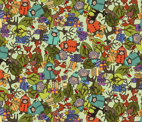 christmas jumble green fabric by scrummy on Spoonflower - custom fabric