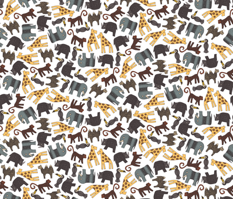 urban animals white ditsy fabric by scrummy on Spoonflower - custom fabric