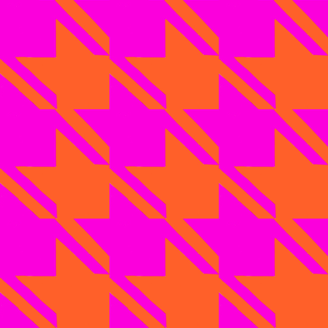 shocking pink orange houndstooth large