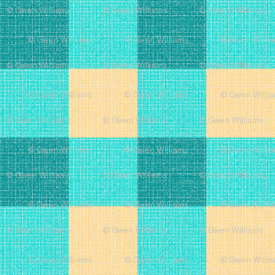 teal yellow gingham