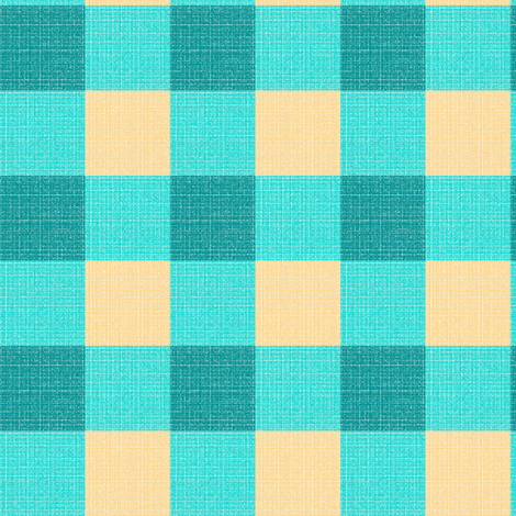 teal yellow gingham fabric by mojiarts on Spoonflower - custom fabric