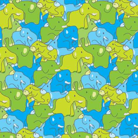 Elephant Donkey Jumble fabric by ebygomm on Spoonflower - custom fabric