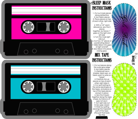 Girls Rock Quilted Mix Tape and Sleep Mask fabric by risarocksit on Spoonflower - custom fabric