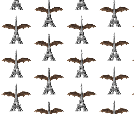 Eiffel Tower Bat Wings fabric by 13moons_design on Spoonflower - custom fabric