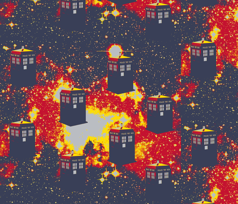 Tardis in Starry Space-red, yellow