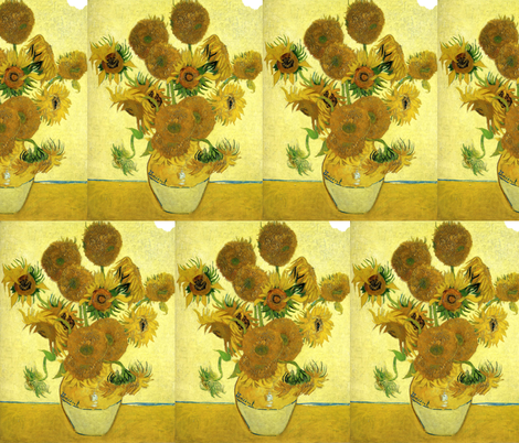 Fifteen Sunflowers Art Fabric
