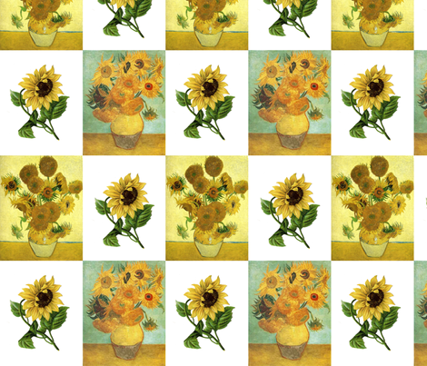 Sunflowers for Vincent fabric by 13moons_design on Spoonflower - custom fabric