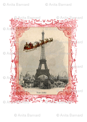 Santa over Paris Christmas Fabric