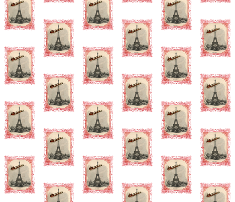 Santa over Paris Christmas Fabric fabric by 13moons_design on Spoonflower - custom fabric