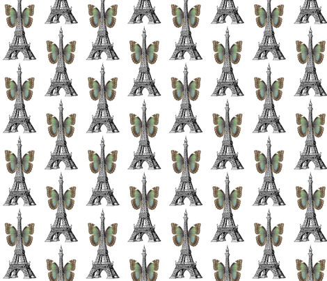 Eiffel Tower Butterfly fabric by 13moons_design on Spoonflower - custom fabric