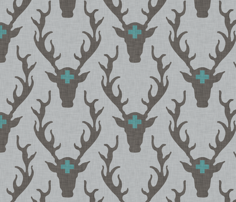 deer_head_marine fabric by holli_zollinger on Spoonflower - custom fabric