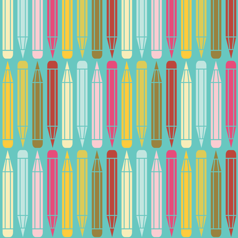just_pencils_multi_onblue fabric by natasha_k_ on Spoonflower - custom fabric