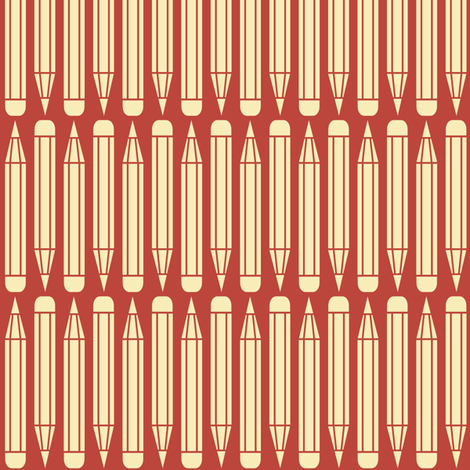 just_pencils_red fabric by natasha_k_ on Spoonflower - custom fabric