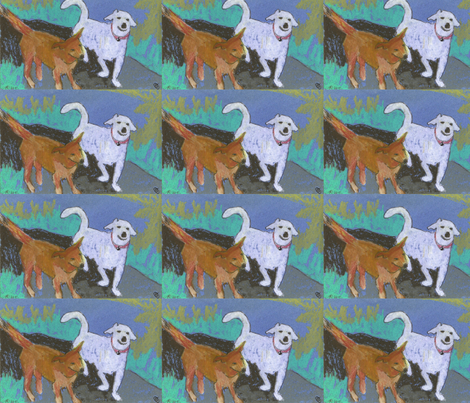 grinning dog fabric by juliannjones on Spoonflower - custom fabric