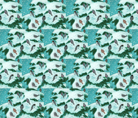 snowy birds fabric by juliannjones on Spoonflower - custom fabric