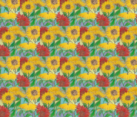 sunflowers fabric by juliannjones on Spoonflower - custom fabric