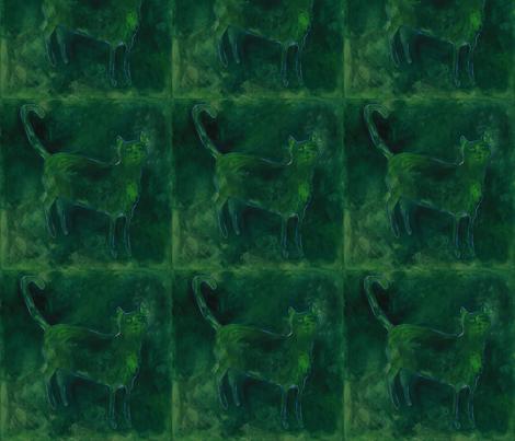 green cat fabric by juliannjones on Spoonflower - custom fabric