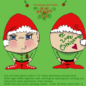 Christmas / Holiday Elf Dollie Doll cut and sew