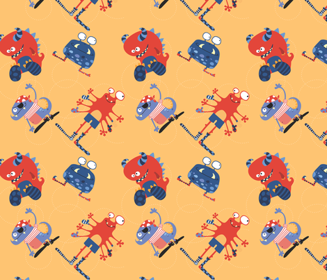 Pirate monsters 1 fabric by cyntia_abrigo on Spoonflower - custom fabric