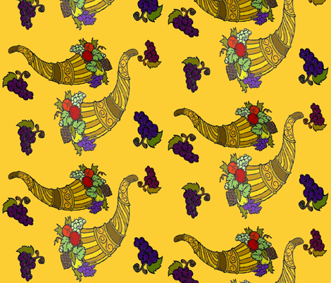 GOLDEN HORNS OF PLENTY fabric by bluevelvet on Spoonflower - custom fabric