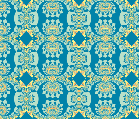 Graceful Fractals in Blue, Green, and Orange fabric by clotilda_warhammer on Spoonflower - custom fabric