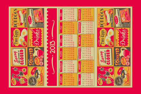Retro Kitchen (Advertising) ~ 2013 Calendar/Tea Towel **FOR LINEN** fabric by retrorudolphs on Spoonflower - custom fabric
