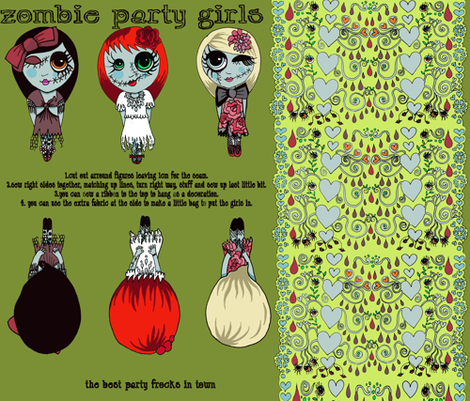 zombie_party_girls_final fabric by eat_my_sweet_dust on Spoonflower - custom fabric