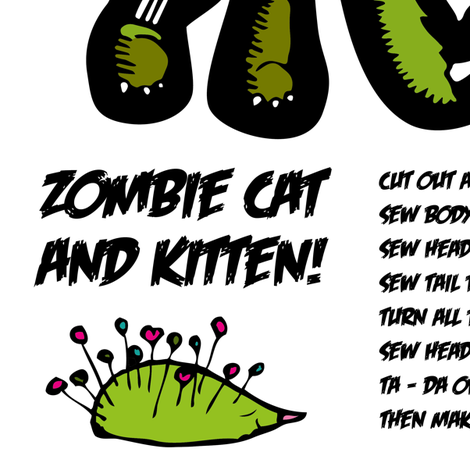 Zombie Cat fabric by miss_ella on Spoonflower - custom fabric
