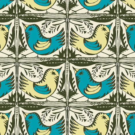 Beady Eyed Bird (Teal & Sand) fabric by wednesdaysgirl on Spoonflower - custom fabric