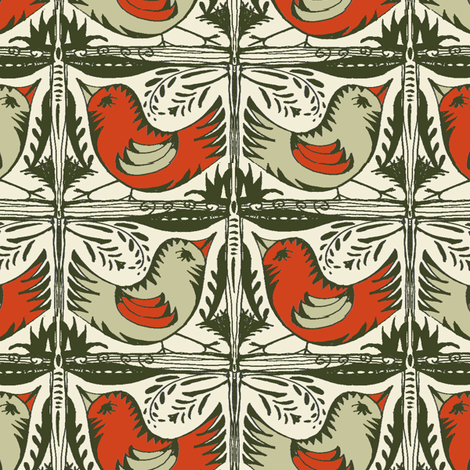 Beady Eyed Bird (Nutmeg & Paprika) fabric by wednesdaysgirl on Spoonflower - custom fabric