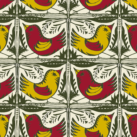 Beady Eyed Bird (Plum & Mustard) fabric by wednesdaysgirl on Spoonflower - custom fabric