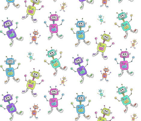 Colorful Robots fabric by mommadeedesigns on Spoonflower - custom fabric