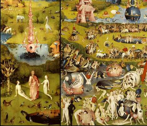 The Garden of Earthly Delights (Hieronymus Bosh, 1510) fabric by studiofibonacci on Spoonflower - custom fabric