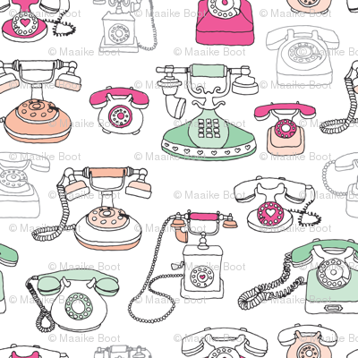 Vintage telephone communication fabric pattern