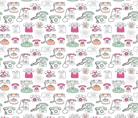 Vintage telephone communication fabric pattern fabric by littlesmilemakers on Spoonflower - custom fabric
