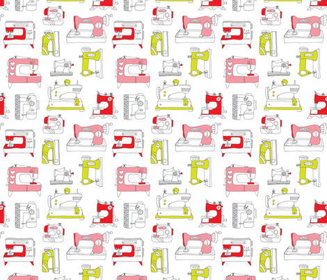 Vintage sewing machine fashion fabric fabric by littlesmilemakers on Spoonflower - custom fabric