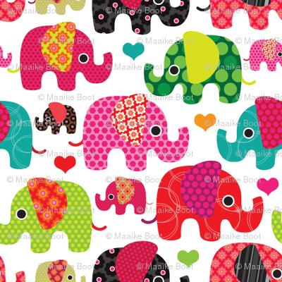 Cute retro kids elephant pattern fabric