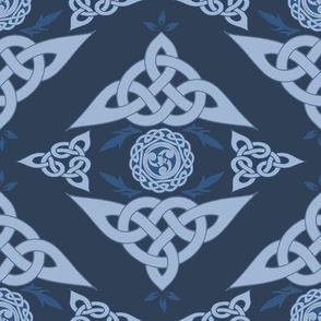 Celtic Triquetra Damask Royal Blue