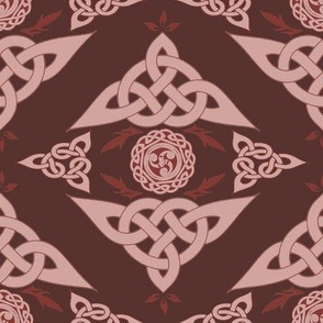 Celtic Triquetra Damask Crimson Red
